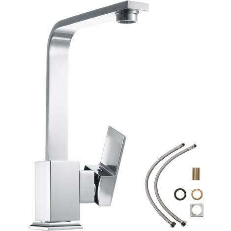 Grifo de cocina monomando, con giro de 360 ° - grifo para fregadero de latón, grifo de cocina funcional con maneta, grifo giratorio para cuarto de baño - gris