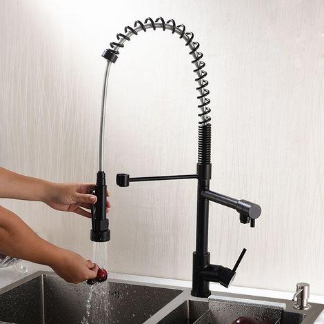 Grifo de cocina negro contemporáneo con caño giratorio y ducha retráctil