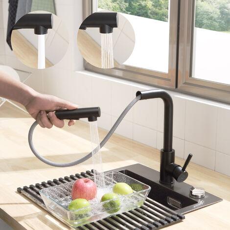 Grifo de Cocina para Agua Fría, 360º Giratorio Monomando Grifería para Fregadero, Acero Inoxidable Cepillado