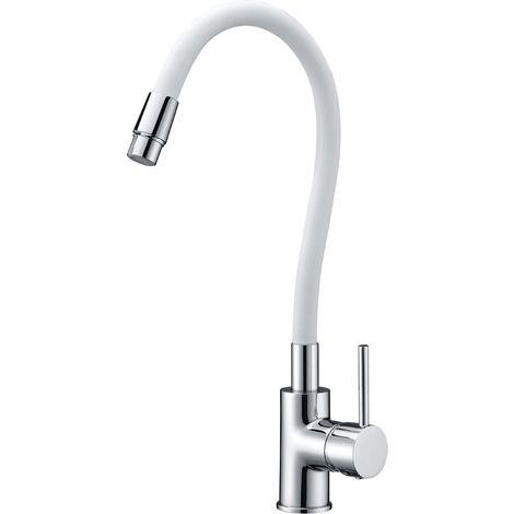 Grifo de cocina tubo flexible blanco mate Serie Viena - IMEX