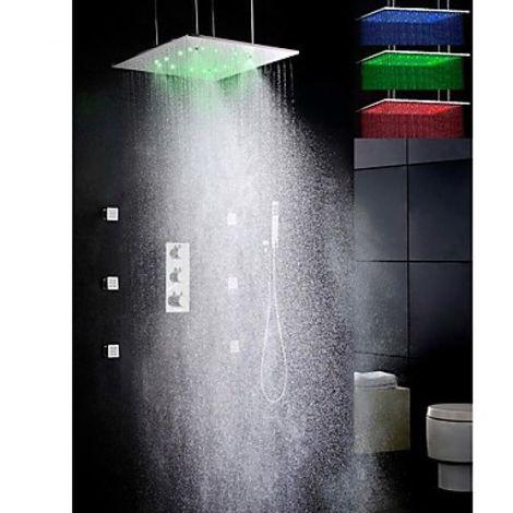"Grifo de ducha con cabezal de ducha LED de 20 """