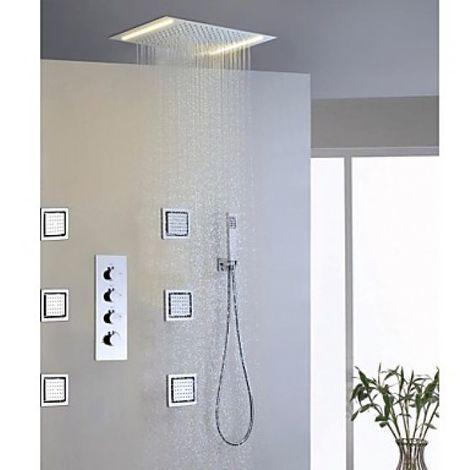 Grifo de ducha con ducha de lluvia, 6 piezas de chorros de masaje y ducha de mano