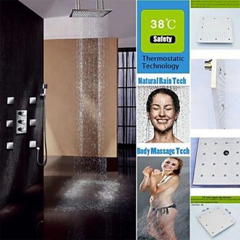 "Grifo de ducha con ducha de lluvia de 20 ""con LED, cabezal de ducha y chorros de agua"