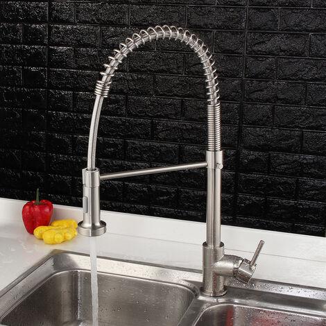 Grifo de ducha de cocina con una sola manija de níquel cepillado y cobre para fregadero con caño giratorio