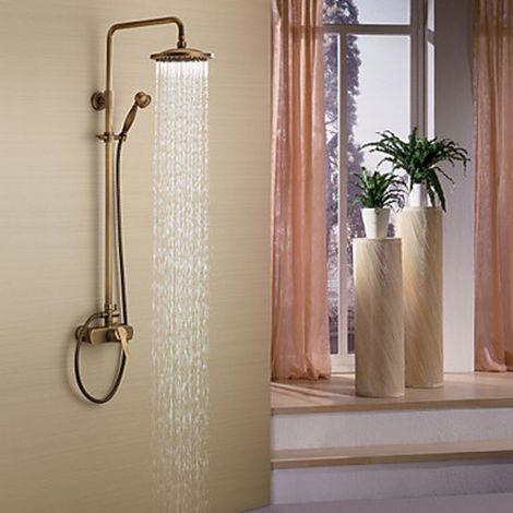 Grifo de ducha de latón antiguo con cabezal de ducha de 8 pulgadas + ducha de mano