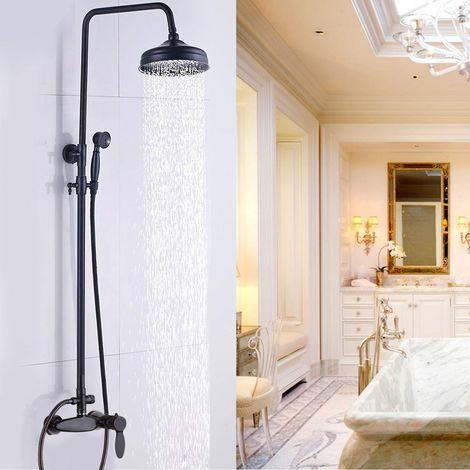 Columna de ducha estilo retro 100% latón macizo bronce frotado con aceite