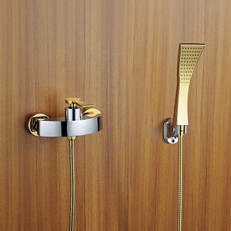 Grifo de ducha moderno con cabezal de ducha con acabado en oro y plata