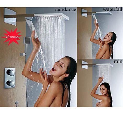 Grifo de ducha montado en la pared termostático, cascada y precipitación