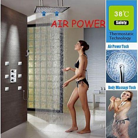 """Grifo de ducha termostático con ducha de lluvia de 20 """"y 6 chorros de agua de rociado"""