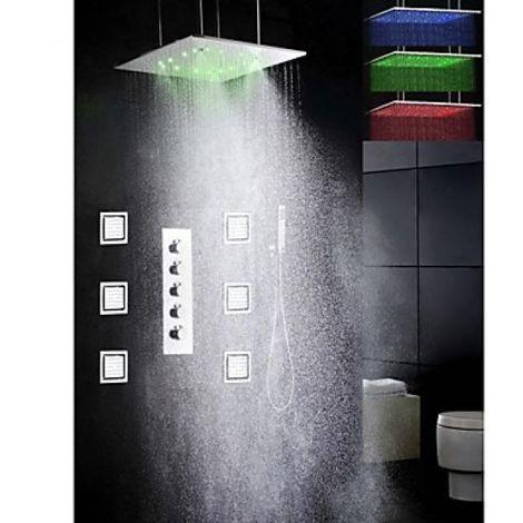 "Grifo de ducha termostático con ducha de lluvia LED de 20 ""y 6 chorros de agua de rociado"