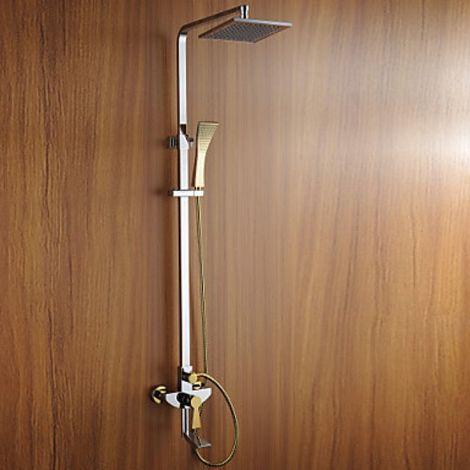 Grifo de ducha y bañera con doble acabado en oro y plata.