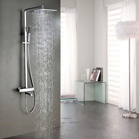 Grifo de ducha y bañera termostática con rociador de acero inoxidable.