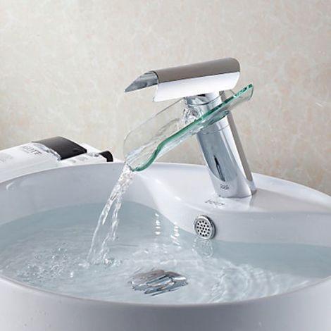 Grifo de fregadero en cascada diseñado con un caño de vidrio, estilo moderno