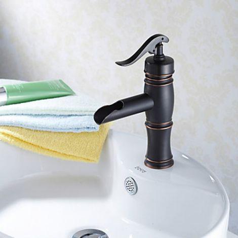 Grifo de lavabo acabado en bronce frotado con aceite, un grifo de estilo tradicional con una sola manija y un solo orificio de instalación