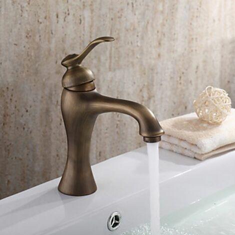 Grifo de lavabo acabado en latón, grifo monomando inspirado en diseño antiguo