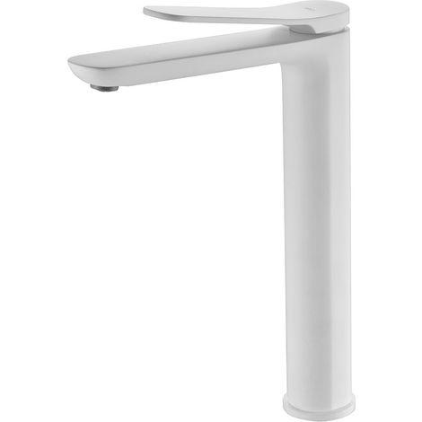 Grifo de lavabo alto pica monomando blanco mate serie Dinamarca