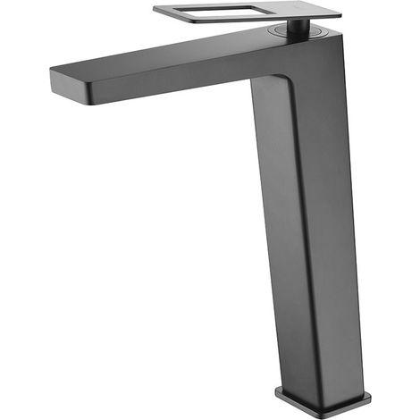 Grifo de lavabo alto pica monomando negro mate serie Suecia