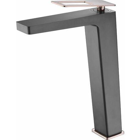 Grifo de lavabo alto pica negro oro rosa monomando serie Suecia
