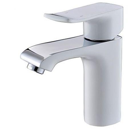 Grifo de lavabo blanco de diseño moderno con grifo monomando (monomando)