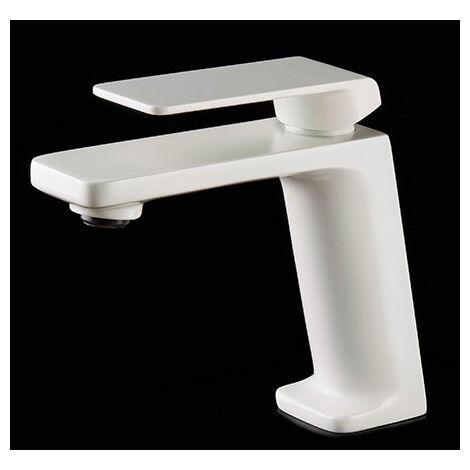 Grifo de lavabo blanco mate monomando Serie Fiyi - IMEX