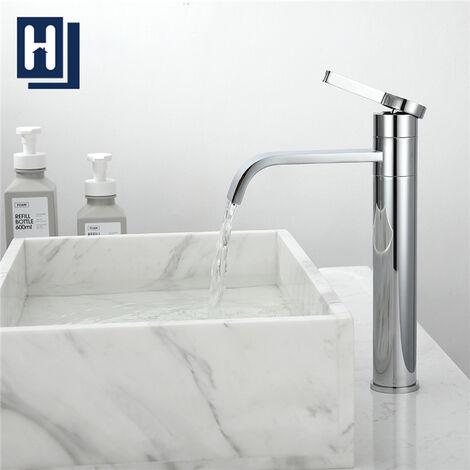 Grifo de Lavabo Cascada Grifo de baño alto Caño giratorio Grifo mezclador de latón cromado de 360 ° para lavabo de Estilo de Moderno