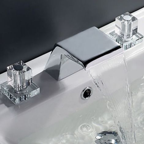 Grifo de lavabo con dos manijas de cristal, estilo contemporáneo