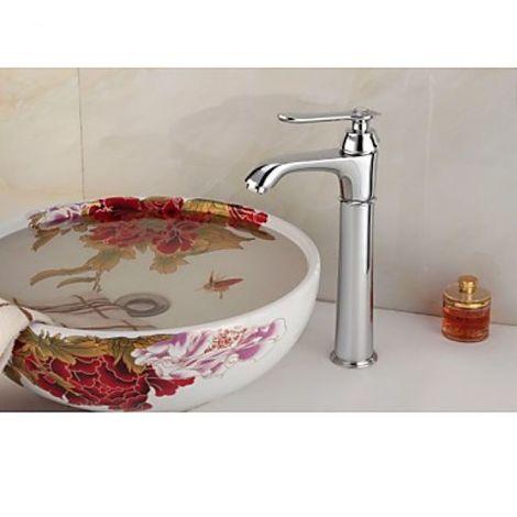 Grifo de lavabo con efecto cascada, estilo antiguo y acabado cromado