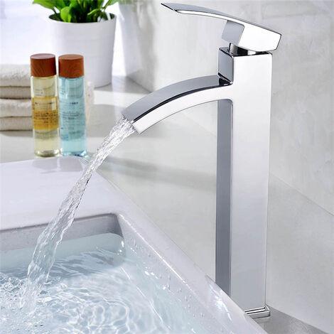 Grifo de lavabo Cromo Cascada Grifo de Baño Monomando de lavabo Grifería lavabo Alto caño Agua fría y caliente
