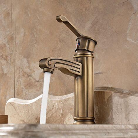 Grifo de lavabo de diseño antiguo acabado en bronce, grifo monomando con orificio de instalación único