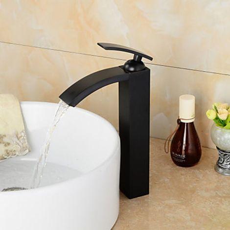 Grifo de lavabo de estilo contemporáneo con acabado en bronce frotado con aceite y equipado con un grifo mezclador (monomando)