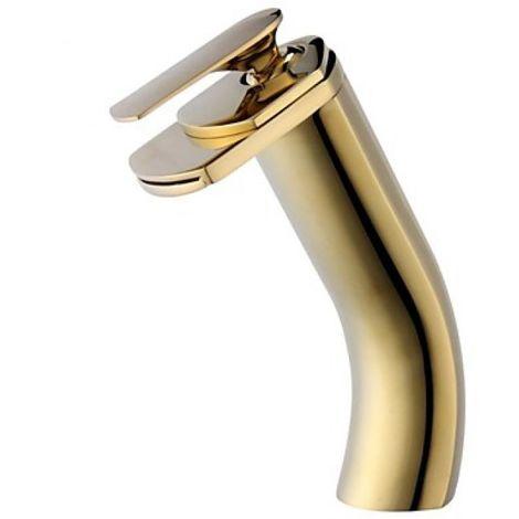 Grifo de lavabo de latón macizo con una sola manija, grifo de estilo moderno