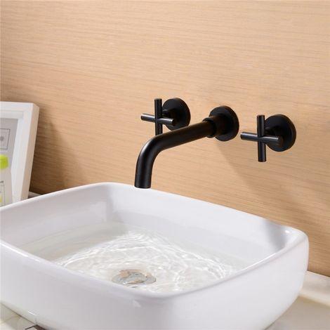 Grifo de lavabo moderno de dos manijas montado en la pared en negro sólido