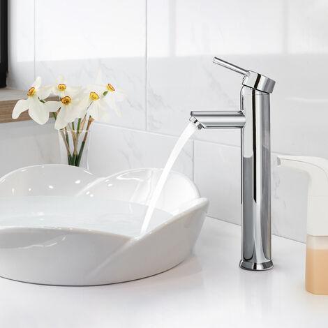 Grifo de Lavabo Monomando Alto Mezclador del Lavabo Grifería de Baño Agua Fría y Caliente Cromado - cromo