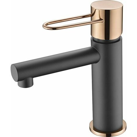 Grifo de lavabo monomando negro oro rosa Serie Milos