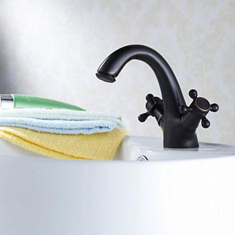 Grifo de lavabo negro con dos manijas, un estilo tradicional con acabado de bronce frotado con aceite