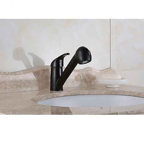 Grifo de lavabo negro con mezclador, acabado de bronce frotado con aceite para un estilo contemporáneo