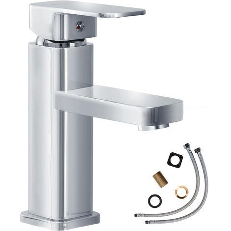 Grifo diseño cuadrado - grifo para baño de latón y cromo, grifo para lavabo con cartucho cerámico y latiguillos, grifo para bidé diseño atemporal - gris