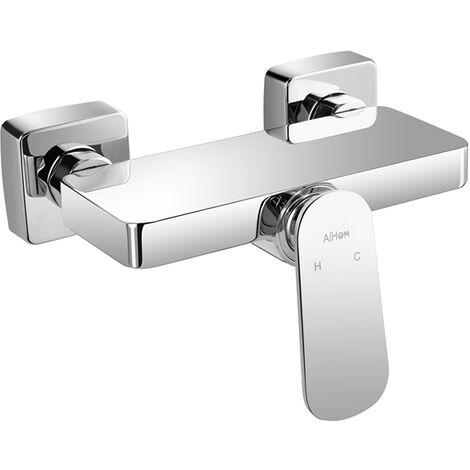 Grifo ducha monomando con estante cromo latón Mezclador de baño Grifo de bañera de latón cromado