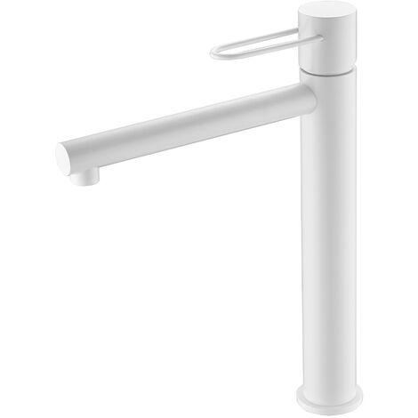"main image of ""Grifo lavabo alto. Monomando blanco mate. Serie Milos"""