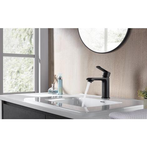 Grifo Lavabo Blanca y Cromado, Monomando Grifo con Agua Suave Aireador para Cuenca de Baño, Ahorro de Agua y Velocidad Variable