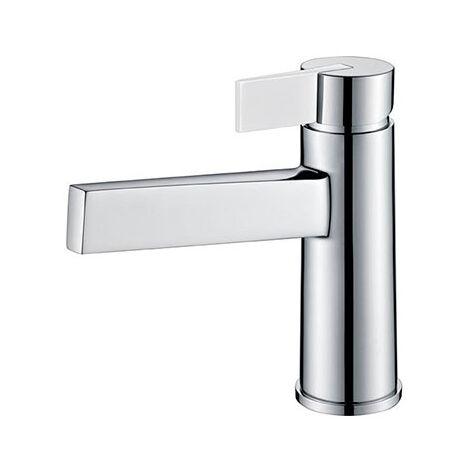 Grifo lavabo cromado blanco monomando. Serie Elba