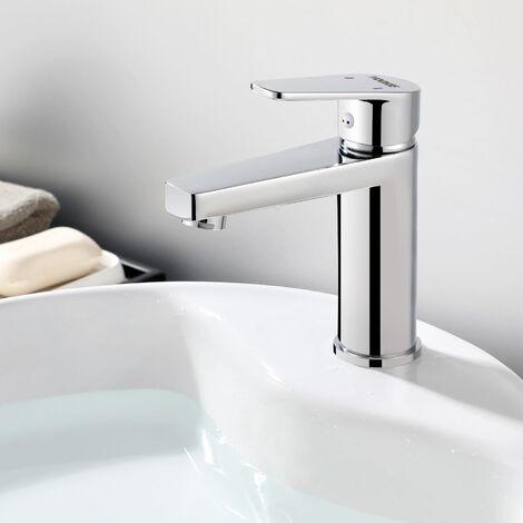 Grifo Lavabo Mezclador Grifería Monomando para Baño con Aireador Desmontable Agua Fría y Caliente Cromado