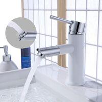Grifo Lavabo Monomando 360° Grifos Modernos Blanco sin Plomo para Lavabos del Cuarto de Baño Agua Fria y Caliente,Aireador Desmontable