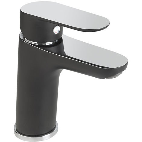 Grifo lavabo monomando MEDIUM cromado/negro KEVON BY EUROSANIT