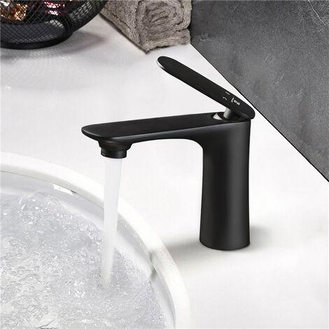 Grifo Lavabo Negro Mate Grifo de Baño Grifos Lavabos Monomando sin Plomo y Grifería de Latón Agua Fría y Caliente