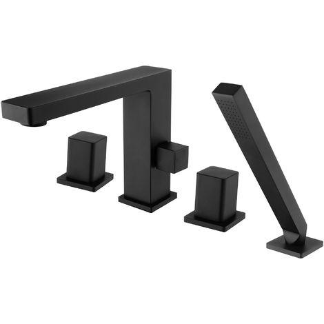 Grifo mezclador de diseño en negro para montaje en el borde de la bañera de 4 agujeros 6081B