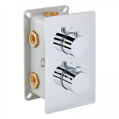 Grifo mezclador de ducha mural para empotrar UP12-01 con inversor de 3 salidas - redondo