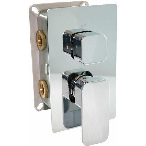 Grifo mezclador de ducha mural para empotrar UP13-02 con inversor de 3 salidas - mandos cuadrados