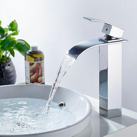 Grifo mezclador monomando Auralum, de cascada, para lavabo (baño) - cromo
