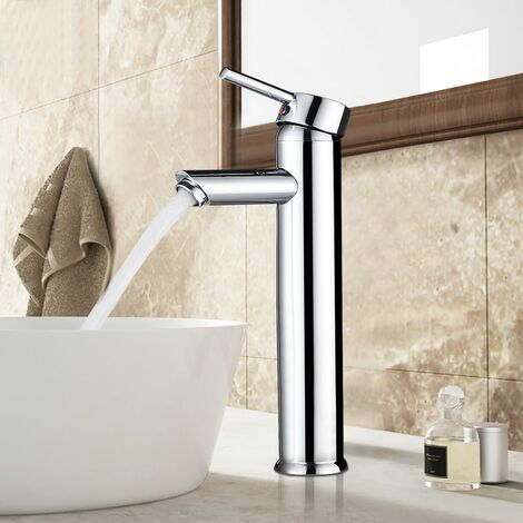 Grifo mezclador monomando para lavabo (latón cromado) Mezclador del Lavabo Grifería de Baño Agua Fría y Caliente Cromado